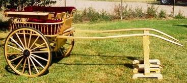 This picture shows a full size Governess Cart with spindle sides, built from Barrie Voisey plans.