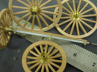"Here is the finished model of the 1/12th scale Cream Waggon made by Radish, showing the ""Sarven"" type hubs painted black."
