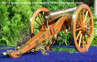 "9lb. Smooth Bore Field Cannon, made in 1/22nd scale and totally scrachbuilt by ""Radish"" of Brisbane, Australia."