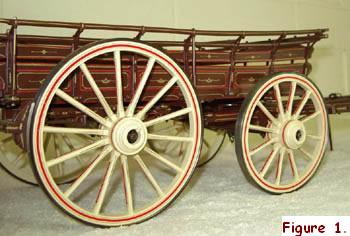 "This 1/12th scale model of a Farm Waggon by ""Radish"" shows all the detail of the outstanding craftsmanship of a model wheelwright. The staggered spokes are set in wooden hubs and the steel tyres are given an authentic appearance by first placing them on the electric hotplates until they turn blue, and then rubbing them down with steel wool."